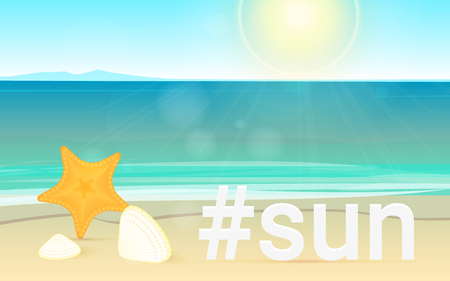 Hashtag sun concept bright vector illustration of landscape summer beach and sea for tropical resort and advertising. Travel and holiday landscape long banner with ocean or sea and beautiful sunlight Illustration