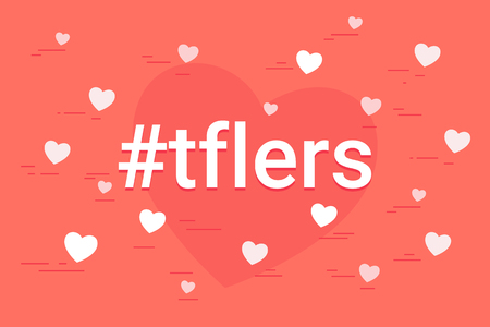 Hashtag tflers concept vector illustration of cloud of flying hearts symbols. Tag for likes flat design for social media networking and image posting on modern coral background