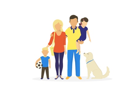 Happy family flat vector concept illustration of parents standing with son, daughter and dog. Sweet portrait of happy dad and mom with little kids on coral background and copy space