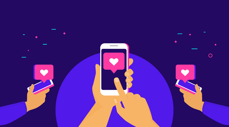 Push the like button for more likes concept flat vector illustration of human hands hold smart phones and push the heart button on the screen. Social media and speech bubbles with heart symbols