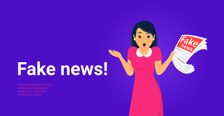 Fake news and information fabrication concept flat vector illustration of young shocked woman with open mouth making hands gesture reading fake newspaper. Amazed people reading contemporary media Standard-Bild - 117942476
