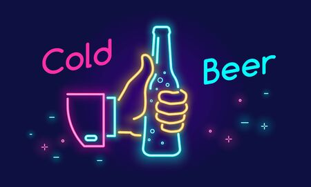 Cold beer bottle and thumbs up symbol icon in neon light style on dark background. Bright vector neon illustration of human hand holds beer bottle with text for website banner template or landing page Illusztráció
