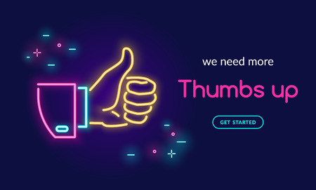 Human hand thumb up symbol in neon light style with text we need more thumbs up on dark purple background. Bright vector neon illustration light website banner template or landing page design Illustration
