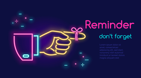 Human hand pointing finger and red tape on the finger in neon light style with text reminder don't forget on dark purple background. Bright vector neon illustration light website banner, landing page