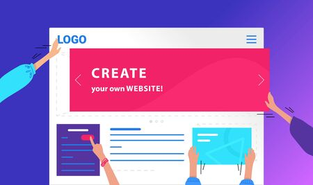 Create your own website flat vector neon design for web banner. Gradient illustration of human hands placing banners and buttoms and developing corporate website or online shop on violet background Archivio Fotografico - 131855582