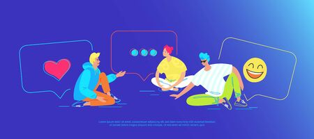 Casual friends talking in social media. Gradient vector illustration of three teenegers sitting on the floor with speech bubbles
