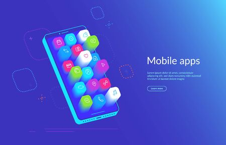 Isometric smartphone with various applications flying out the screen