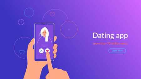 Mobile dating app for finding new friends, hook-ups and romantic partners.  イラスト・ベクター素材
