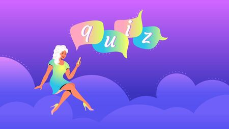 Woman playing quiz with smartphone mobile app concept vector illustration of teenager sitting on clouds with speech bubbles quiz. Happy bright people using mobile app on gradient background Illusztráció