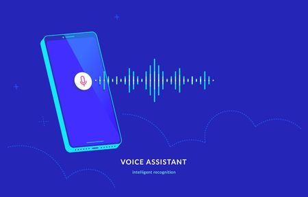 Voice assistant and speech recognition mobile app. Concept modern vector illustration of flying isometric smartphone with microphone button on the screen and voice sound as neon soundwave