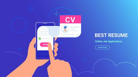 CV fulfilling and sending online using mobile app. Vector gradient illustration of human hand holding smartphone with complete resume flying out of screen for reviewing and sending to the employer