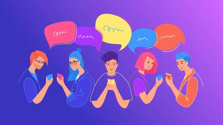Social media chat and communication flat vector illustration. Teenage people using smartphone for chatting Vettoriali