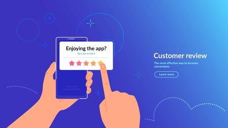 Rate our mobile app. Customer feedback and rating 5 stars for app or service.