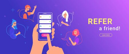 Refer a friend gradient vector illustration of human hand holds smartphone to invite friends Ilustrace