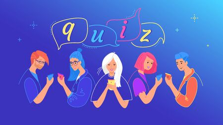 Quiz concept vector illustration of teenage boys and girls answering questions