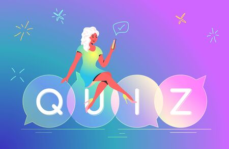 Woman playing quiz with smartphone mobile app concept vector illustration of teenager sitting on speech bubbles quiz and answering question. Happy bright people using mobile app on gradient background