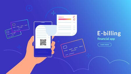 E-billing after payment by credit card via electronic wallet. Vector gradient illustration of human hand holding smartphone with electronic bill notification flying out of screen for connected card Ilustração