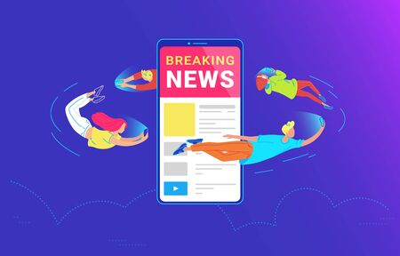 Young people are flying around of big smartphone and using their own smart phones for reading news and sharing between friends. Gradient concept vector illustration of usability of mobile phone