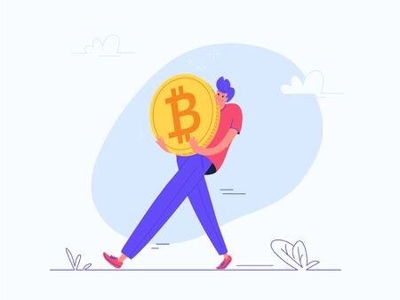 Young man carrying heavy golden symbol of bitcoin Vector Illustration