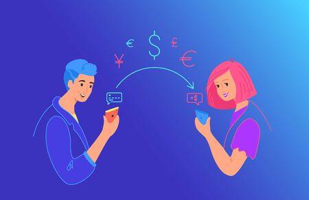 Send money gradient vector neon illustration for web and mobile design 일러스트