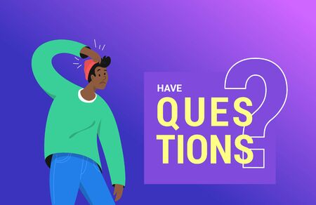Confused african man need an answer and has some doubt. Vector illustration of young teenager needs professional help, support or more information. Gradient modern design on purple background