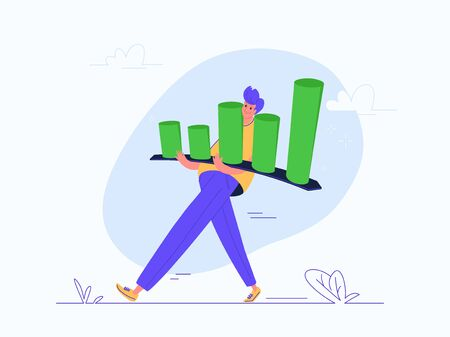 Young man carrying heavy growing graph