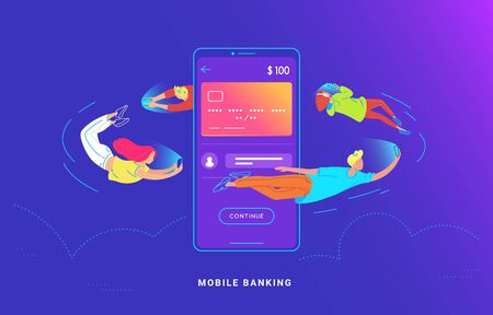 Young people are flying around a big smartphone and using their phones for banking 일러스트