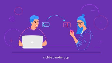 Mobile banking flat vector illustration of young man sitting with laptop and sending money from credit card to his friend on mobile electronic wallet. Happy smiling teenagers with financial symbols Illusztráció