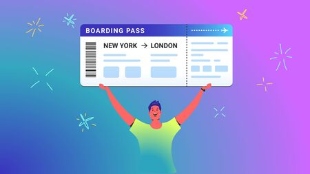 Boarding pass concept vector illustration of young man holds over his head big ticket as a winner. Happy bright people win prizes via lottery ticket on gradient background. Boarding pass template