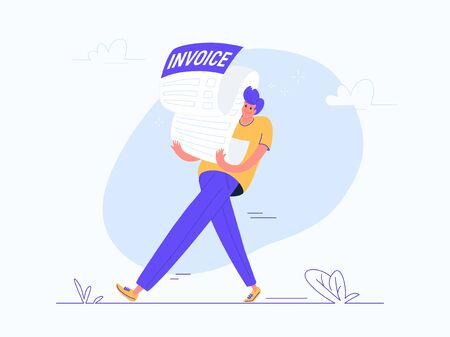 Young man carrying heavy invoice. Flat modern concept vector illustration of burden of receiving huge bills. Casual design of people who need to pay for services on white background Illustration