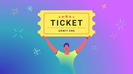 One ticket admission concept vector illustration of young man holds over his head big ticket for movie