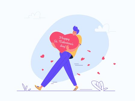 Young man carrying heavy Valentines greeting card Illustration