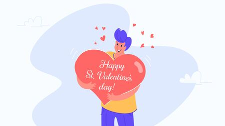 Happy smiling man hugging heart symbol as Valentines greeting card. Flat vector illustration of people who fell in love and celebrating Saint Valentines day. Romantic banner on white background Illustration