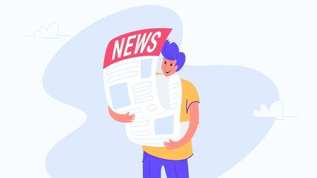 Happy smiling man hugging biggest newspaper. Flat modern concept vector illustration of people who subscribes to monthly notification, daily news and press. Casual design on white background