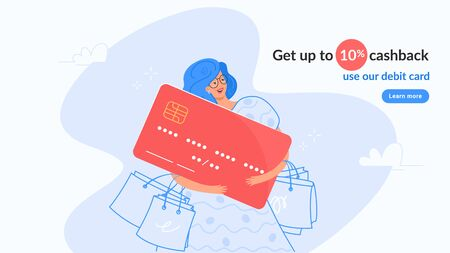 Happy smiling woman hugging big red card nd getting cashback for shopping