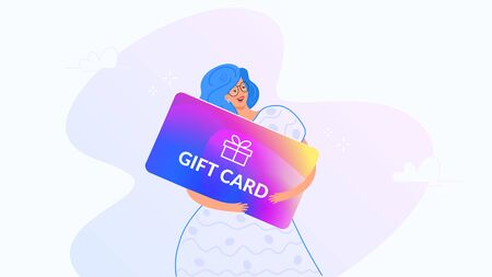 Happy smiling woman hugging big gift card. Gradient modern concept vector illustration of people who use gift coupons for payment and shopping. Happy woman celebrating 8 of March on white background