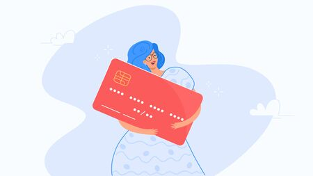Happy smiling woman hugging big red credit card. Flat modern concept vector illustration of people who use credit and debit bank card for payment. Casual consumer with plastic card on white background Illustration