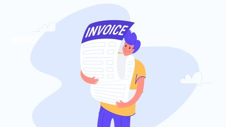 Young man carrying heavy invoice