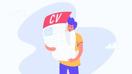 Happy smiling man hugging big cv fulfilled form to hr Illustration