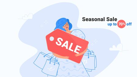 Happy smiling woman hugging big red sale product tag. Flat modern concept vector illustration of people who like shopping and seasonal sale. Casual consumer holding sticker on white background Illustration