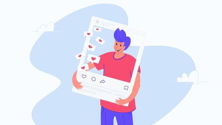 Happy smiling man and social media page. Flat vector illustration of people addicted to likes in social media. Casual design of man standing into photo card with hearts in bubbles on white background