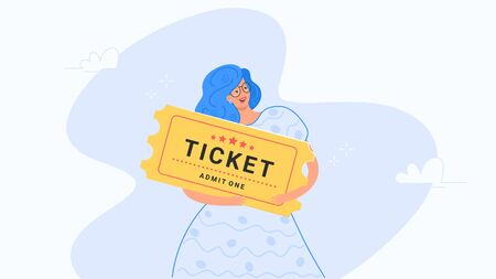 Happy smiling woman hugging big yellow ticket. Flat modern concept vector illustration of people who buy tickets for cinema or other events. Consumer holding entrance admission on white background