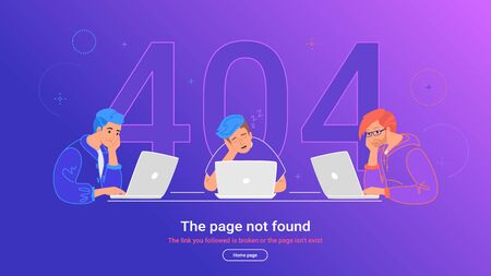 The page not found 404 error. Flat vector illustration of upset teenagers sitting at work desk with laptops and sleeping. 404 error and three guys using notebooks having problems with broken web page