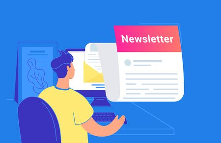 Newsletter monthly subscription flat vector illustration of young man sitting with pc and checking email inbox. People with computer, reading news or subscribing to advertising and promo notification
