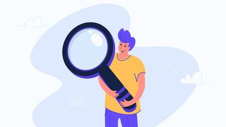 Happy young man hugging big heavy magnifier. Flat modern concept vector illustration of online search, web seo and data analysis. Casual design on white background
