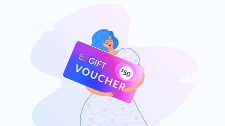 Happy smiling woman hugging big gift voucher for 50 dollars. Gradient modern concept vector illustration of people who use gift coupons for shopping. Happy woman and seasonal offer on white background