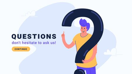 Young man standing near big question symbol and gesturing. Flat modern concept vector illustration of people who needs professional help, support or more information. Casual design on white background