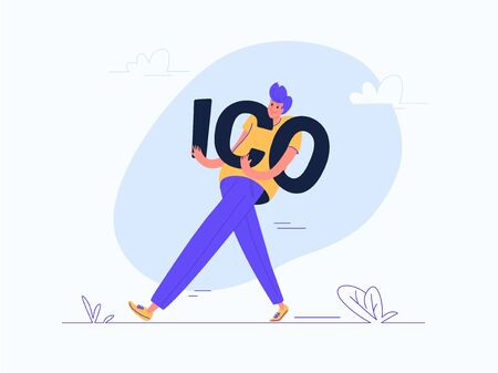 Young man carrying heavy ico letters. Flat modern concept vector illustration of people who investing money for a cryptocurrency or profitable fintech projects. Casual design on white background