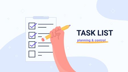 Task list planning and control. Flat vector modern illustration of human hand holds yellow pencil to mark tasks in notepad as done. Concept design for banners, promo and landing pages with copyspace Illustration
