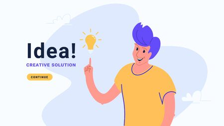 Idea and creative solution. Flat vector illustration of human hand pointing to yellow bulb